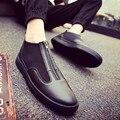 2016 летом новая мода плоским кожа назад молния обувь мужская повседневная спортивная обувь прилива обувь ленивый мужчины классический красный черные туфли