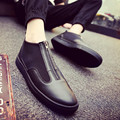 2016 summer new fashion flat UP leather back zipper shoes men's casual sports shoes tide shoes lazy men classic red black shoes