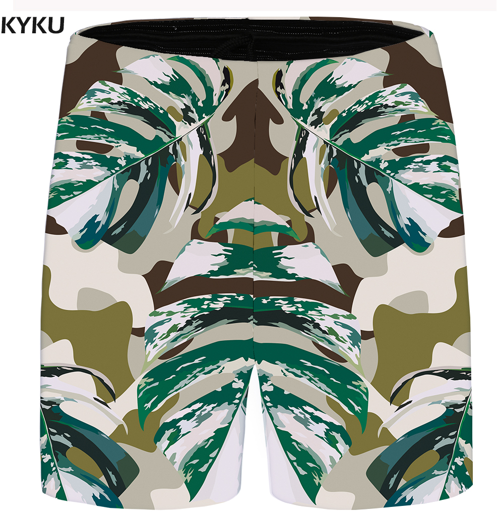 KYKU Brand Leaf Shorts Men Vintage Cool Casual Shorts Camo 3d Print Cargo Beach Harajuku Mens Short Pants Summer 2018 New