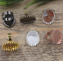 100pcs Cabochon 13*18mm,18*25mm Crown Pad ring blank Cameo Tray,Bronze/Gold/Silver Ring setting,Handmade Zakka jewelry Finding