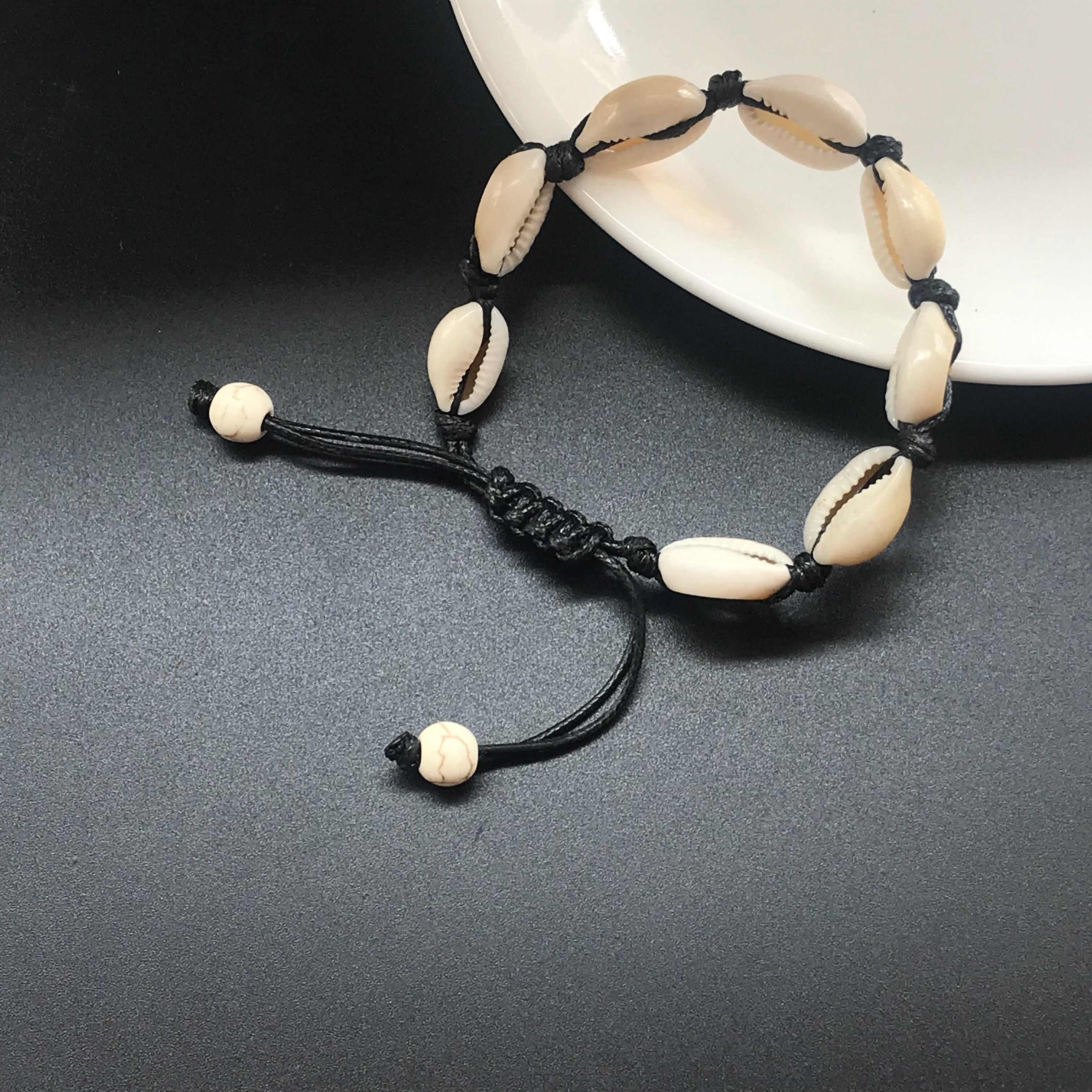 Gorąca sprzedaż ręcznie naturalne muszla ręcznie dzianiny bransoletka muszle bransoletki kobiety akcesoria zroszony bransoletki Strand