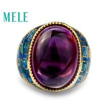 Женское кольцо с эмалью из серебра 925 пробы натуральным аметистом