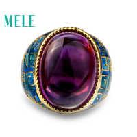 Améthyste naturelle 925 anneaux en argent pour les femmes avec grand ovale 13X18mm pierre gemme émail artisanat Vintage bijoux fins en couleur violette