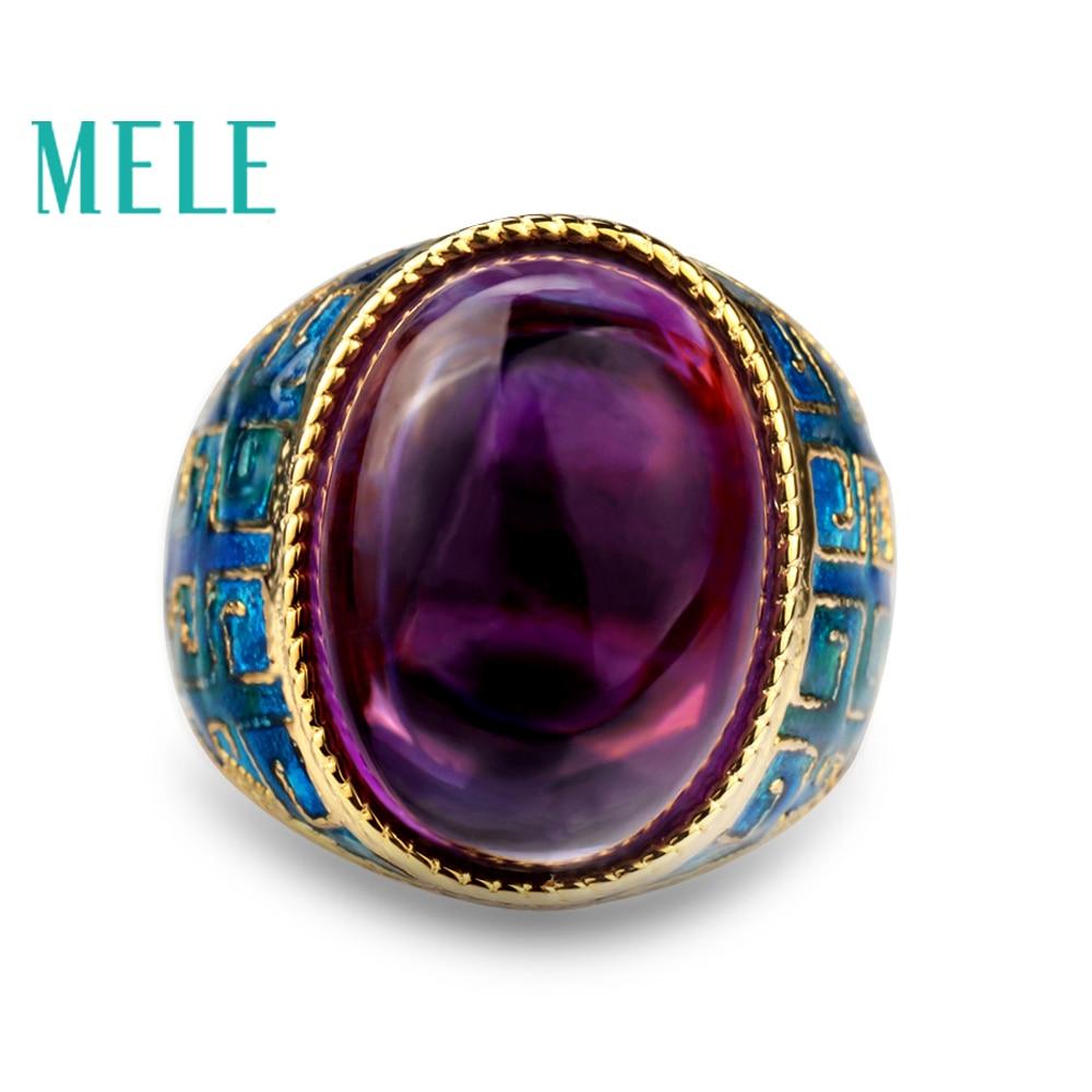 Naturel améthyste 925 anneaux d'argent pour les femmes avec grand ovale 13X18mm Gemstone Émail artisanat Vintage fine jewelry en violet couleur