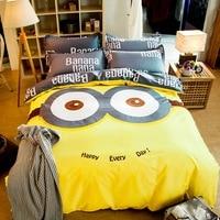 Minions Cartoon bedding sets Twin/Queen Size 3pcs/4pcs Bed Linen Bed Sheets Duvet Cover Set
