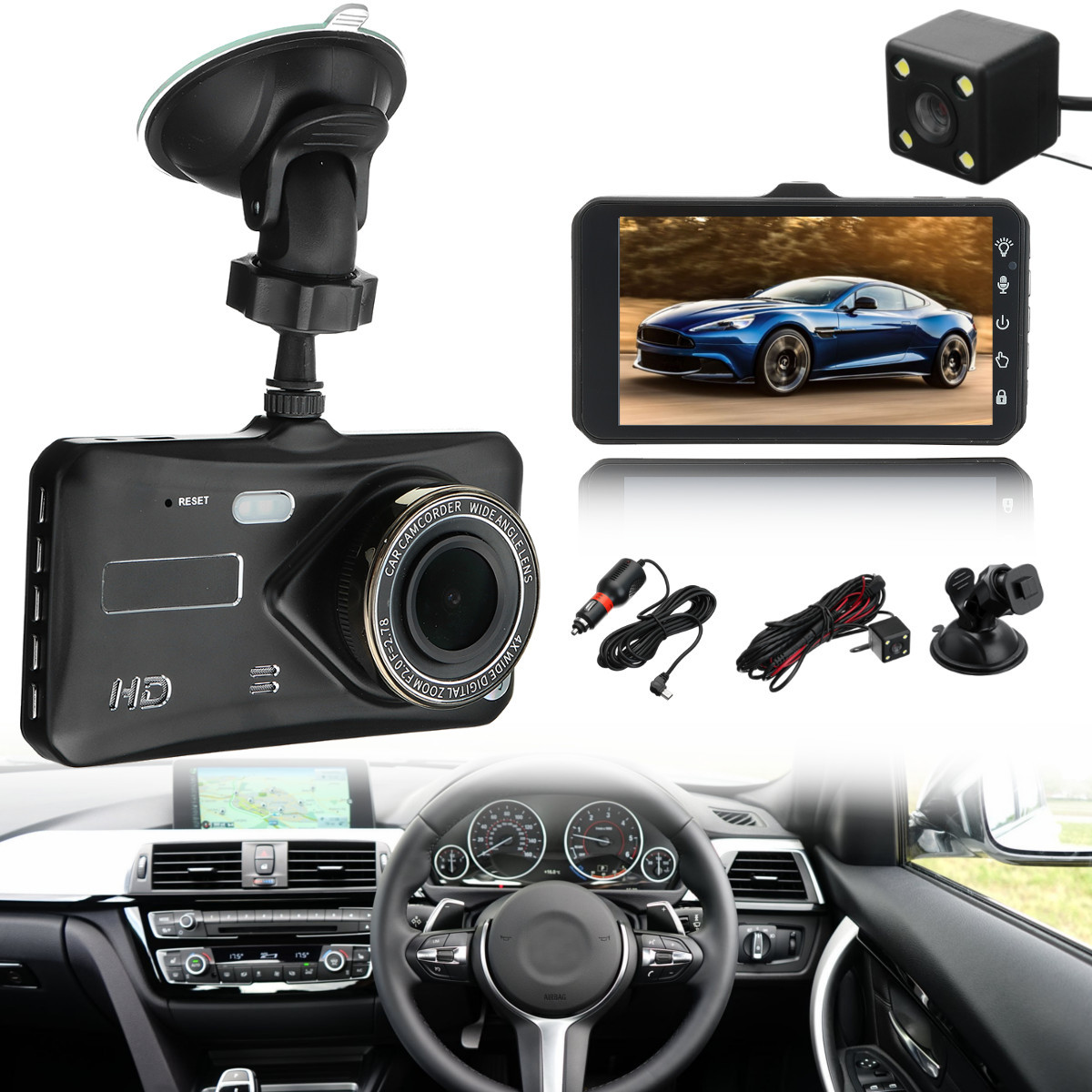 HD 1080 p Wifi Caméra DVR Caméra Vidéo Dash Cam r Avec Caméra Arrière Jul20