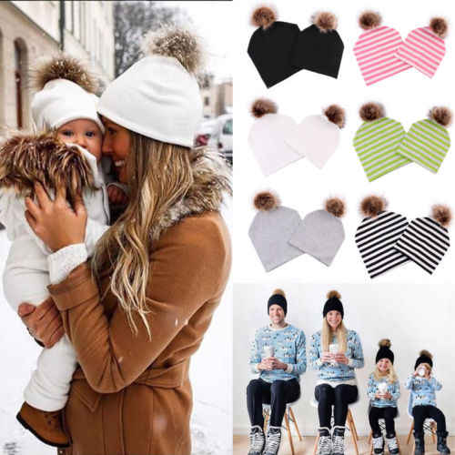0581be710d3 2018 New Brand Family Matching Outfits 2PCS Mom Mother+Baby Knit Pom Bobble Hat  Kids