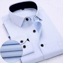 Полосатый/twill прибыл работа мужчина рубашки длинным марка новые платья цвета рукавом
