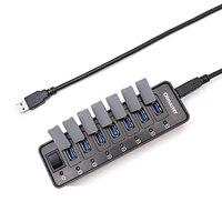 12 볼트 3.0A 고속 USB 3.0 허브 10 포트 휴대용 USB 허브 5 Gbps 스위치 허브 USB 스플리터 어댑터 PC 노트북 + 전원 공급