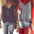 Venta caliente Mujeres del Verano Chaleco Superior Sin Mangas Camisa Blusa Sin Mangas Ocasional Floja del V-cuello Camisa Corta recortada feminino 2016