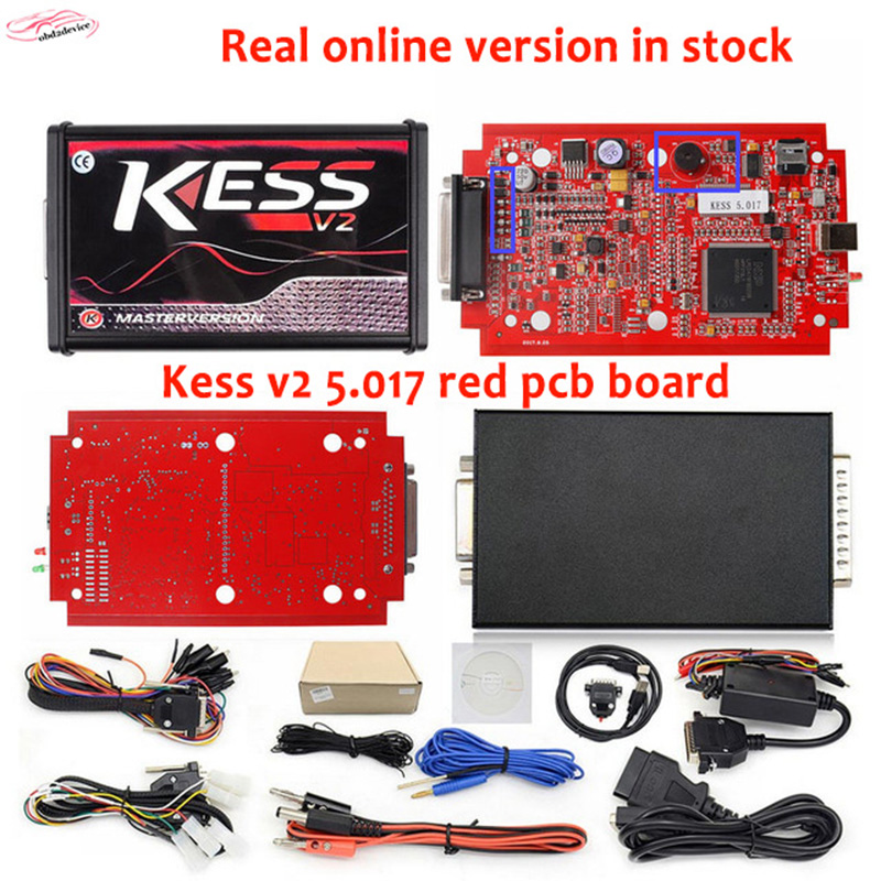 2017 RED PCB Best quality KESS V5.017 SW V2.23 kess v2 5.017 Master obd ii OBD2 Manager ecu programming tools support online 2017 online ktag v7 020 kess v2 v5 017 v2 23 no token limit k tag 7 020 7020 chip tuning kess 5 017 k tag ecu programming tool