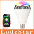 Novos Gadgets Lâmpada LED 6 W E27 Bluetooth Speaker Sem Fio RGB Alto-falantes de cor Inteligente CONDUZIU a Lâmpada Lâmpada de Iluminação Para um Crescimento Inteligente telefone