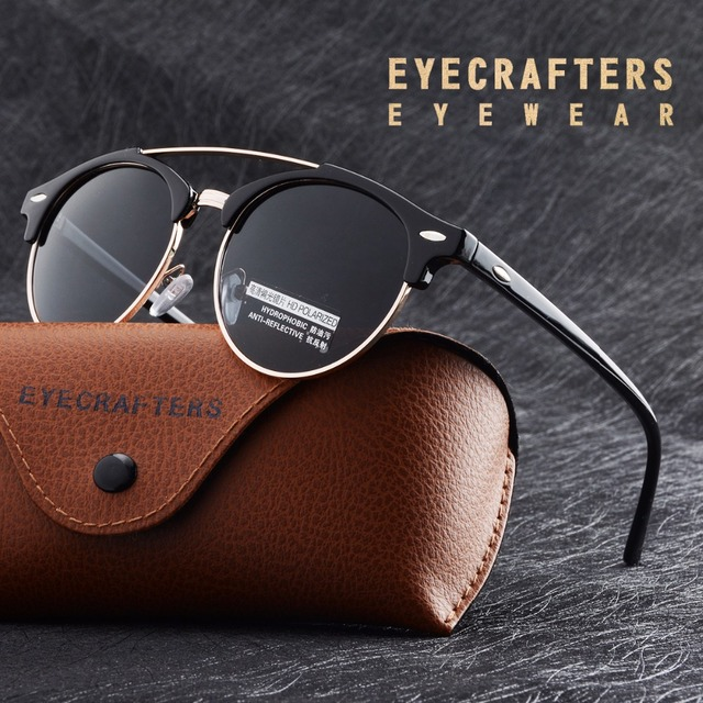 9dd4dd4af3 Classic Half Frame Club Round Sunglasses Polarized Womens Mens Fashion  Vintage Double Bridge Brand Designer Mirrored