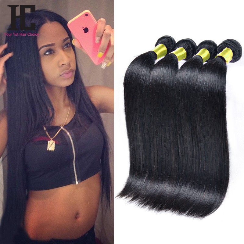 Brazilian Hair Straight 4 Bundles HC Human Hair Weave Natural Color 1B Brazilian Straight Non Remy Hair Extensions Dyeable 4 Pcs
