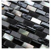Black mẹ của ngọc trai hỗn hợp thủy tinh đá kim loại mosaic tiles, nhà bếp backsplash cải thiện nhà hoa văn gạch