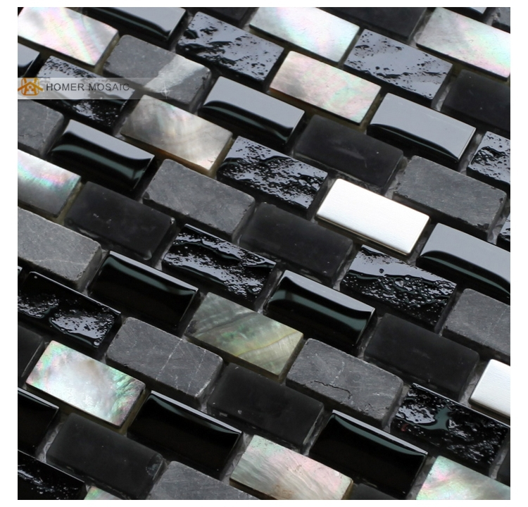 Black Mother Of Pearl Mixed Glass Stone Metal Mosaic Tiles