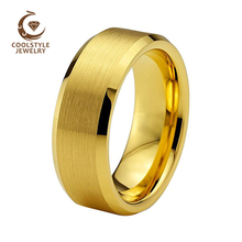 Мужское вольфрамовое Кольцо Золотое обручальное кольцо для Для мужчин Для женщин полоса 8 мм скошенный матовый свободный крой