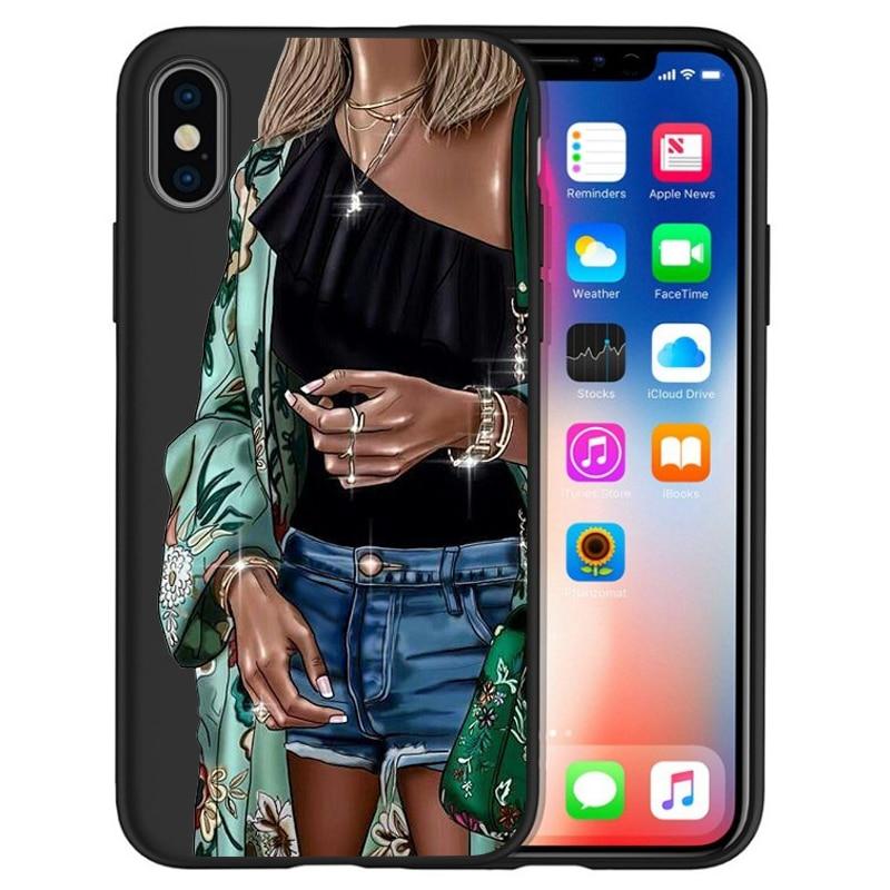 Модный Роскошный чехол для телефона на высоком каблуке с цветочным узором для девочек, чехол для iphone X XS Max XR 6 7 8 Plus 5S SE, мягкий чехол Etui