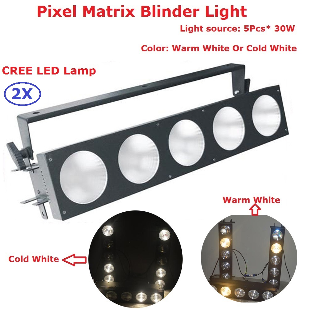 2XLot Factory Price 5Eyes 5X30W LED COB Light DMX Stage Lighting Effect Led Pixel Matrix Blinder Lights With 1/2/5/ 7 Channels show plaza light stage blinder auditoria light ww plus cw 2in1 cob lamp 200w spliced type for stage