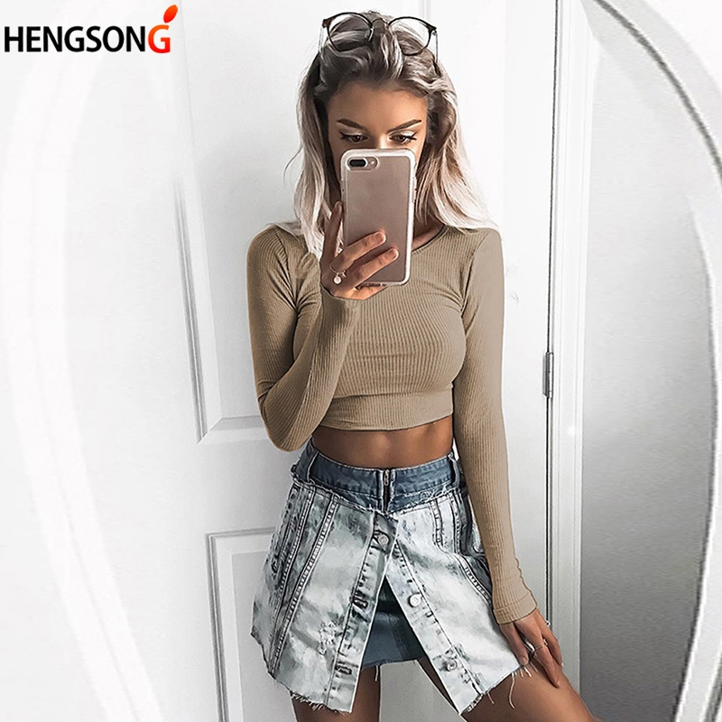 Basic T Shirt 2018 Spring Women Cotton T-shirts Ribbed Knit Tee Women Long Sleeve T Shirt O Neck Women's Crop Top