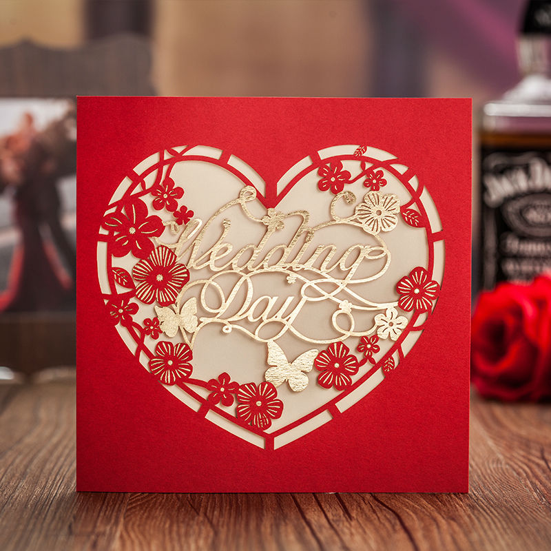 10pcs Lot Laser Cut Heart Shaped Red Flowers Wedding Invitations