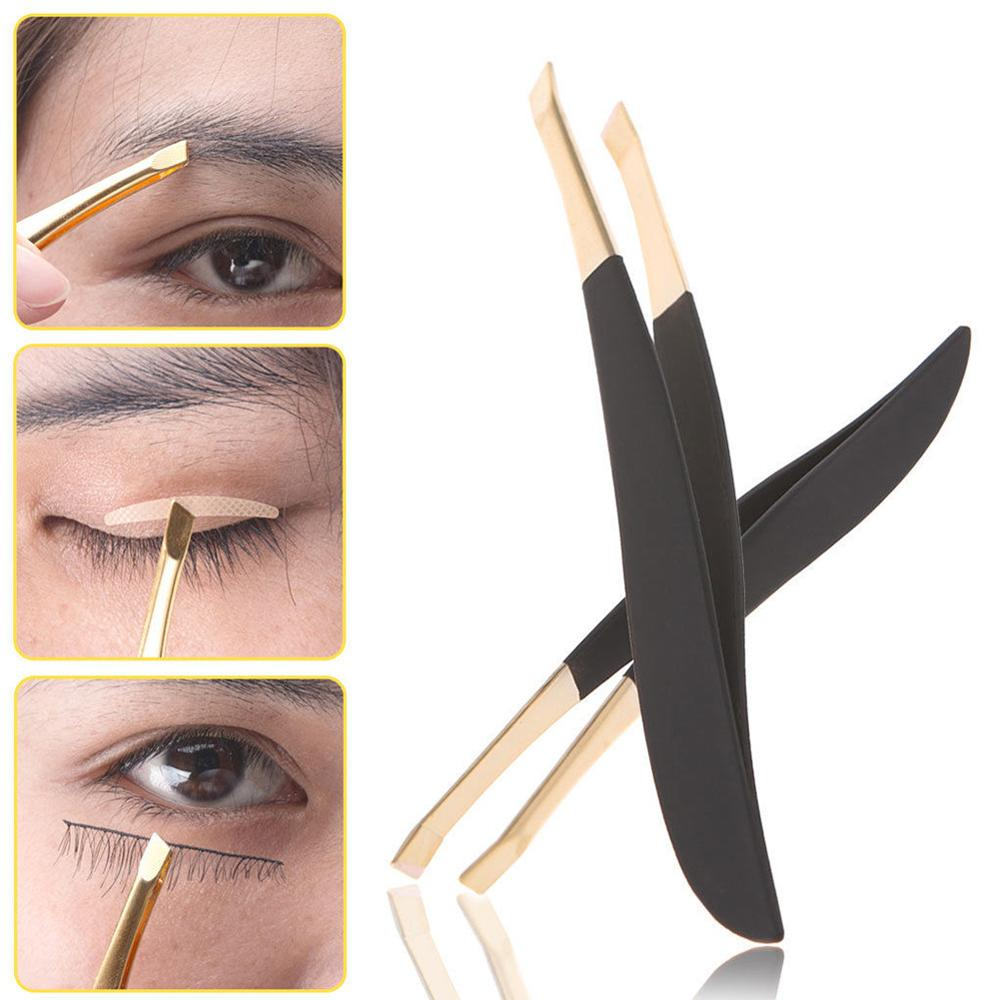 Multi-use Good Quality Eyebrow Tweezer Golden Head Slanted Stainless Steel Tweezer Trimmer Eyelash Clip Hair Removal Makeup Tool