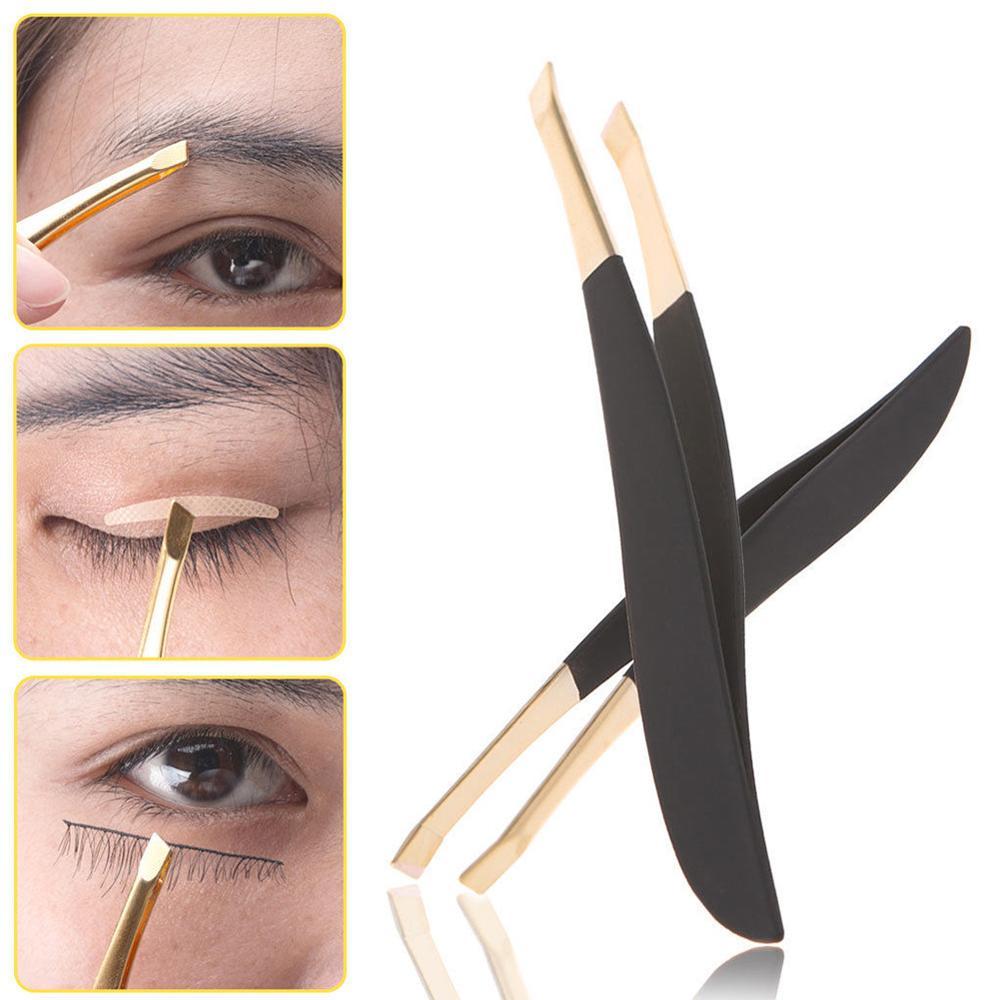 Multi-use Good Quality Eyebrow Tweezer Golden Head Slanted Stainless Steel Tweezer Trimmer Eyelash Clip Hair Removal Makeup Tool