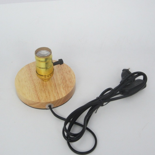Loft Style Vintage Table Lamp Base Wooden Bulb Socket Bulbs Holder LED  Retro Lamp Bases Lampholder