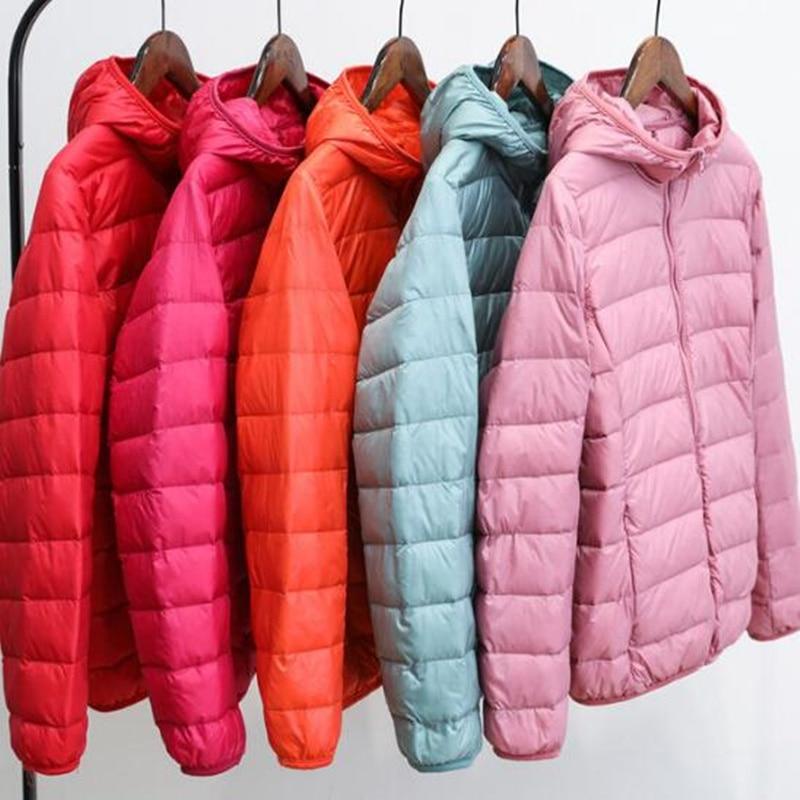 2019 Winter Women Ultra Light   Down   Jacket White Duck   Down   Hooded Jackets Warm slim Fit   Coat   Parka Female Solid Portable Outwear