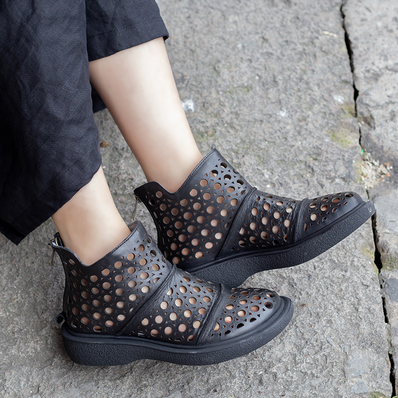 Women Leather Knight Boots Hollow Out Summers Shoes 2019 Low Heels Sandal Boots Women Genuine Leather