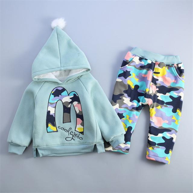 Moda Camo bebê conjunto roupa da menina crianças calças hoodies engrosse inverno quente conjuntos de roupas meninos Das Meninas 2016 novo Inverno chegada