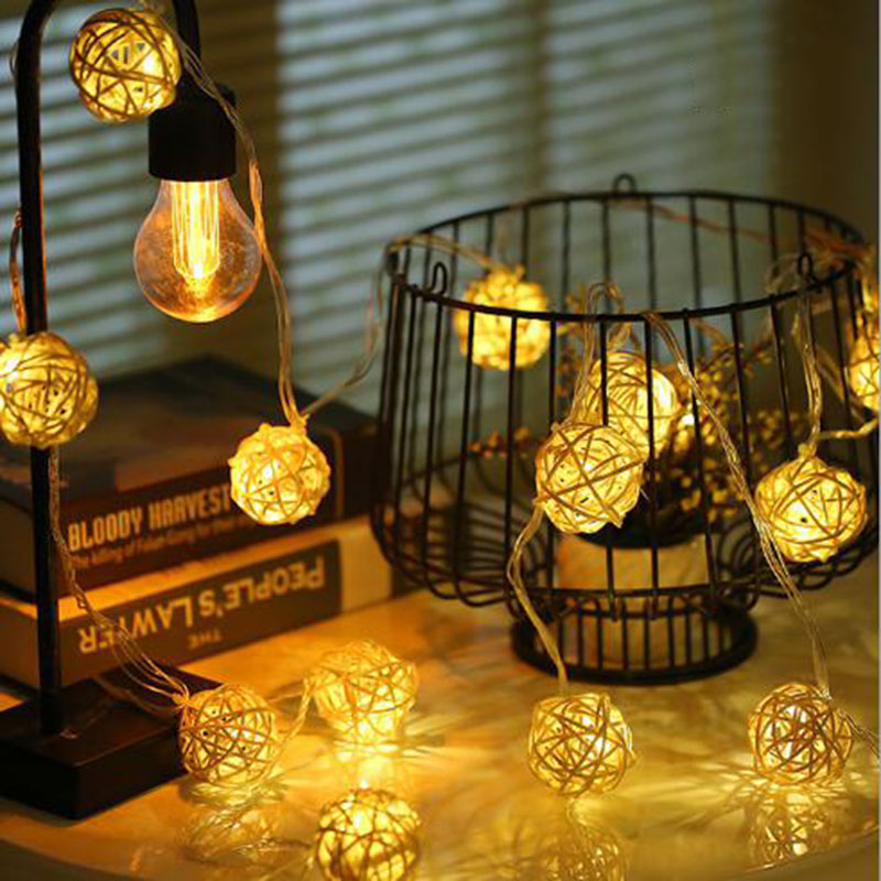 3m 20 Rattan Balls Lights Led String Fairy Holiday Christmas Lighting Outdoor Holiday Wedding Party Decor Warm String Light 2018 3m 220v 20pcs car models night lamp kid children room decor paper string lighting holiday lights eu uk plug luminaria