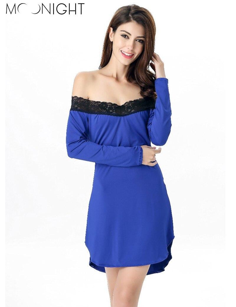 MOONIGHT Long Sleeve Nightgown Sexy Lingerie Mini Sleepwear For Women Milk Silk Nightwear with Lace