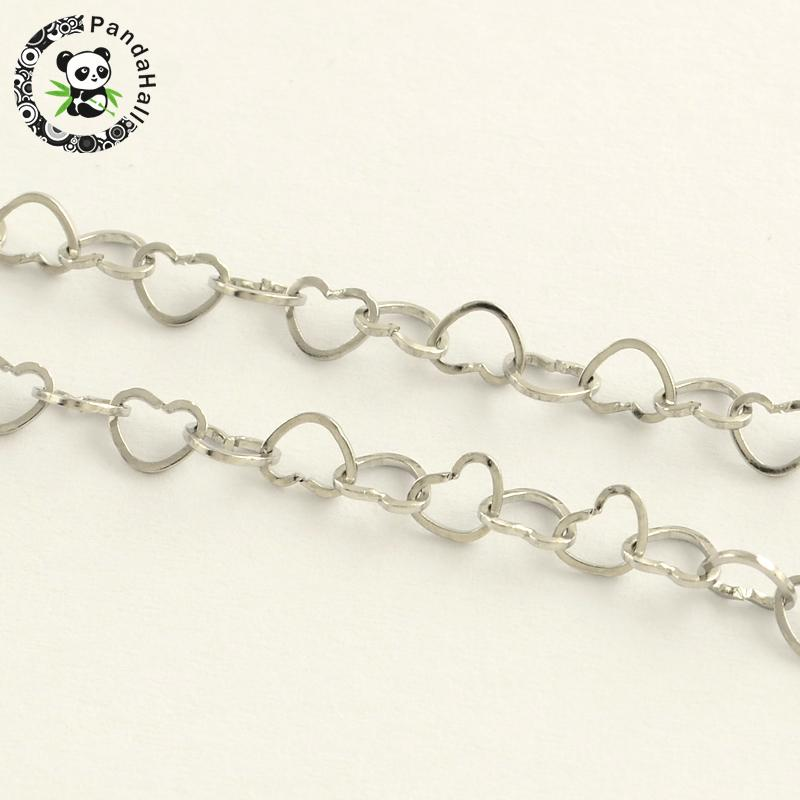 все цены на 304 Stainless Steel Heart Link Chains, for Necklace Making, Soldered, Stainless Steel Color, 3.7x4.6x0.5mm; about 25m/roll онлайн
