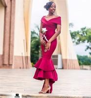 Фуксия платье подружки невесты в стиле русалки 2019 сексуальные с открытыми плечами африканские женские Официальные Вечерние Платья Hi Low атл