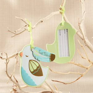 FREE SHIPPING+Baby Christening Gift Baby Bird Design Rubber Luggage Tag Birthday Party Giveaway Gift For Guest+200pcs/Lot