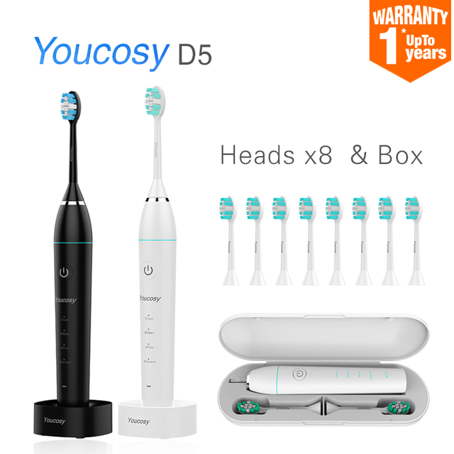 Smart Sonic Electric Toothbrush DuPont Brush Ultrasonic Whitening Teeth Vibrator Wireless timer Hygiene 35000 times/m Youcosy D5