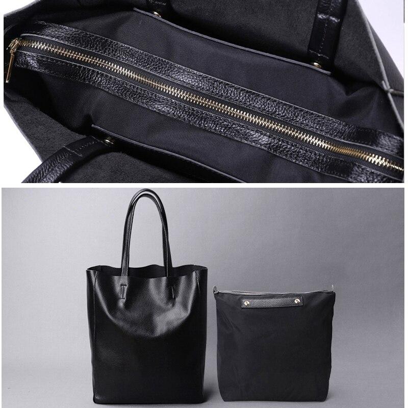 Image 4 - Genuine Leather Bag Women Casual Tote Female Luxury Simple  Fashion Handbag Lady Cowhide Leather Daily Use Shoulder Shopping Bagbag  fbag fashionf bag