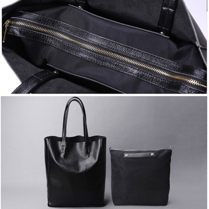 Image 4 - Genuine Leather Bag Women Casual Tote Female Luxury Simple Fashion Handbag Lady Cowhide Leather Daily Use Shoulder Shopping Bag
