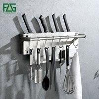 FLG Brushed Nickel Kitchen Shelf Wall Mounted Kitchen Racks Towel Holder Stainless Steel Hook Kitchen Shelves CF103 01N SS