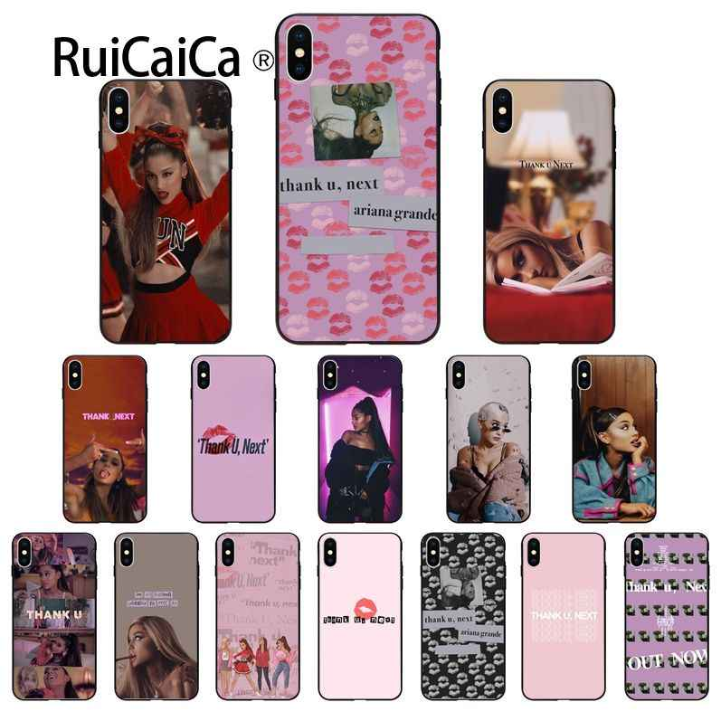 Ruicaica ขอบคุณ U ถัดไป Ariana Grande singer ซิลิโคนสีดำสำหรับ iPhone 6 S 6 plus 7 7 plus 8 8 Plus X Xs MAX 5 5 S XR