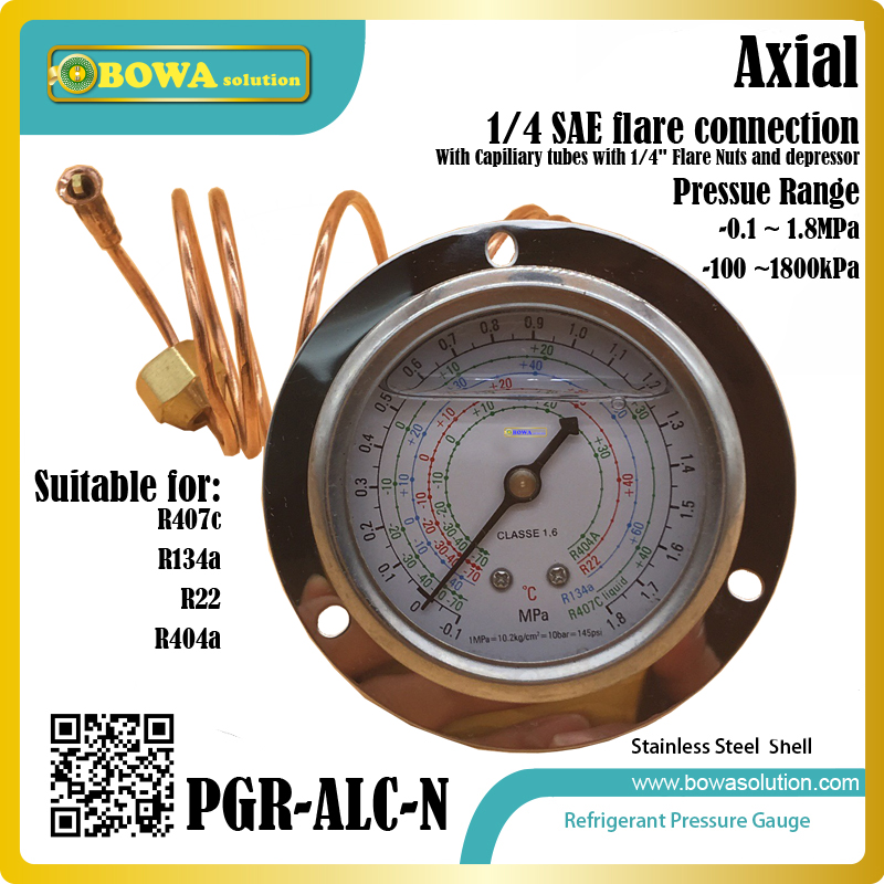 Refrigerant Pressure Gauges for R404a, R22, R134a & R407c show pressure and temperature in heat pump water heaters 11kw heating capacity r410a to water and 4 5mpa working pressure plate heat exchanger is used in r410a heat pump air conditioner