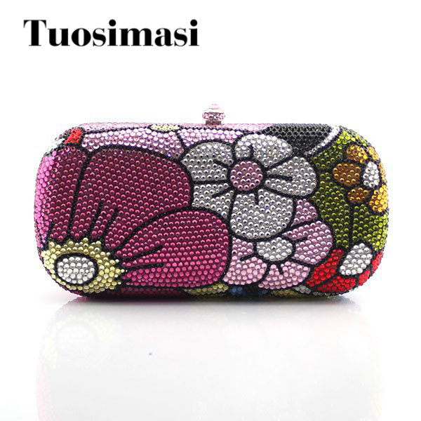 Luxury Women Floral Rhinestone Party Purse Flower Pattern Crystal Evening Clutch Bag