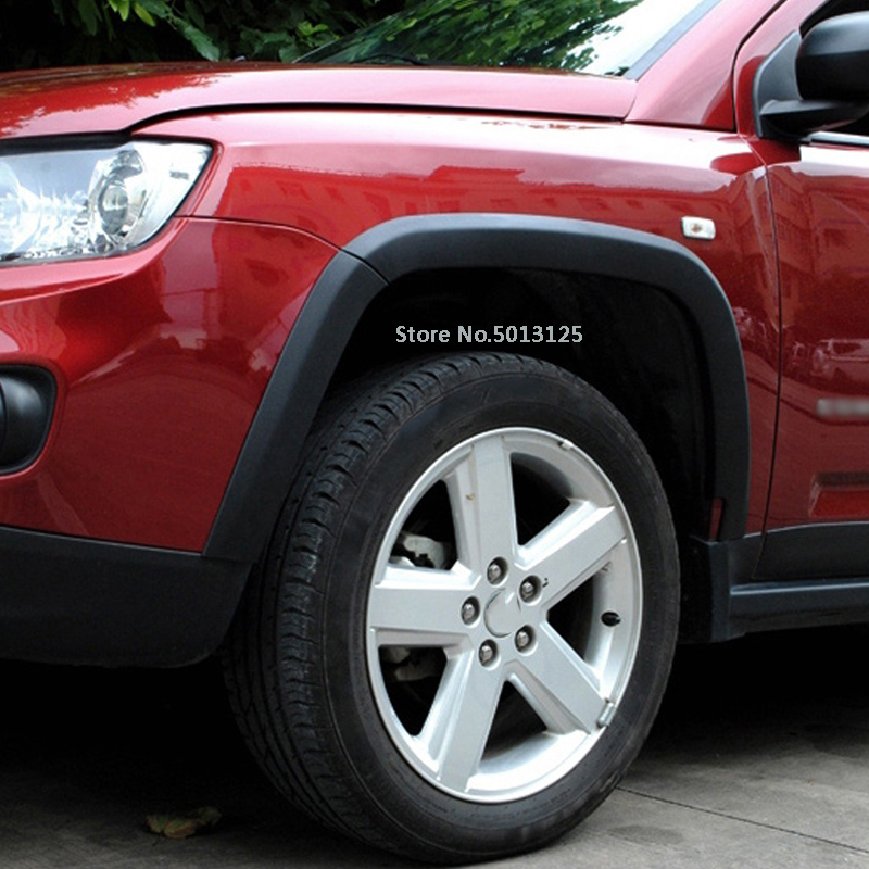 For Jeep Compass 2011 2012 2013 2014 2015 Car Wheel Eyebrow Trim Rubbing Bumper strip Decorative stickers 10Pcs/Set Car Stylings