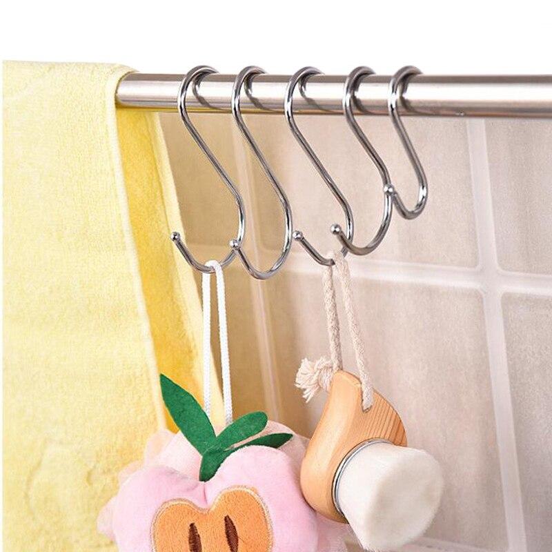 5PC Big Medium Small Metal S Shaped Hooks Bathroom Coat Multifunction Storage Stainless Steel Hook Kitchen Tool