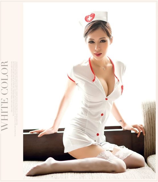women's button sexy doctor nurse costume babydoll erotic sexy product cosplay Sleepwear Clothing Set Deep V Neck Temptation