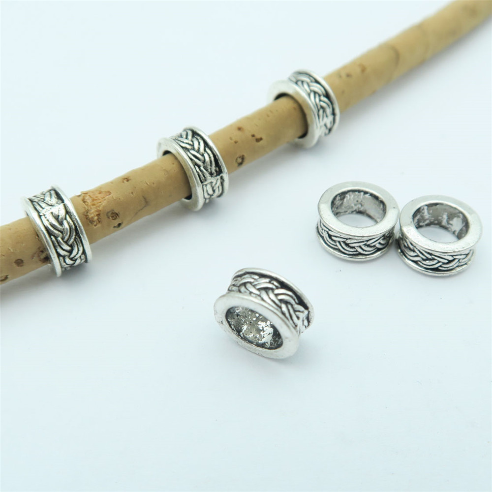 20x Tibetan Silver Ring Shaped Slider Spacer Beads For 2mm Licorice Leather Cord
