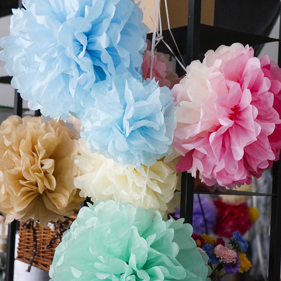 colores tissue paper pom poms de papel artificial bola de flores para beb ducha de