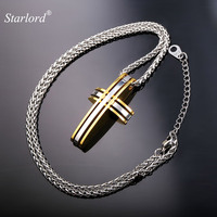 Cross Pendant Necklace For Men 55CM Chain Trendy Gift 18K Gold Plated 2015 New Fashion Men