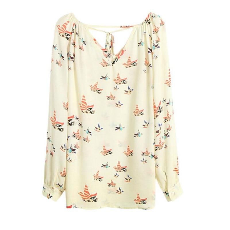 Women Fashion Chiffon Top Blouse Short Long Sleeve Print Casual Loose Shirt